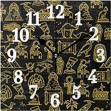 Ahomy - Reloj de pared (cuadrado, grande, egipcio, números antiguos), diseño de arte antiguo