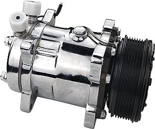 ACTECmax Universal A/C Compressor with Black PV7 Clutch Sanden 508 Style 5H14 R134A Chrome Serpentine Belt