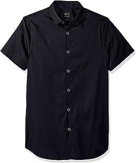 A|X Armani Exchange Men's Short Sleeve Stretch Poplin Woven Slim Fit