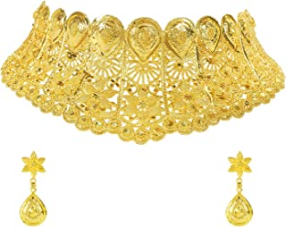 Traditional Indian One Gram Gold Bridal Dulhan 22K Gold Plated Hi Micron Choker Jewellery Set for Women (SJ_2807)