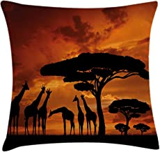 Ambesonne Wildlife Decor Throw Pillow Cushion Cover, Safari with Giraffe Crew with Majestic Tree at Sunrise in Kenya, Decorative Square Accent Pillow Case, 20 X 20 Inches, Burnt Orange Black