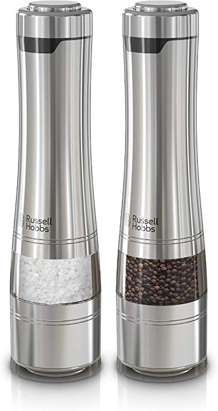 Russell Hobbs RHPK4100 Electric Salt Pepper Mill Set With Adjustable Coarseness Set Of 2 Grinders Stainless