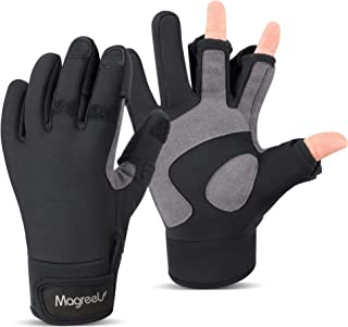 Magreel Ice Fishing Gloves for Men and Women Water Repellent Windproof Gloves 3 Cut Fingers Cold Winter Weather Fishing Gl...