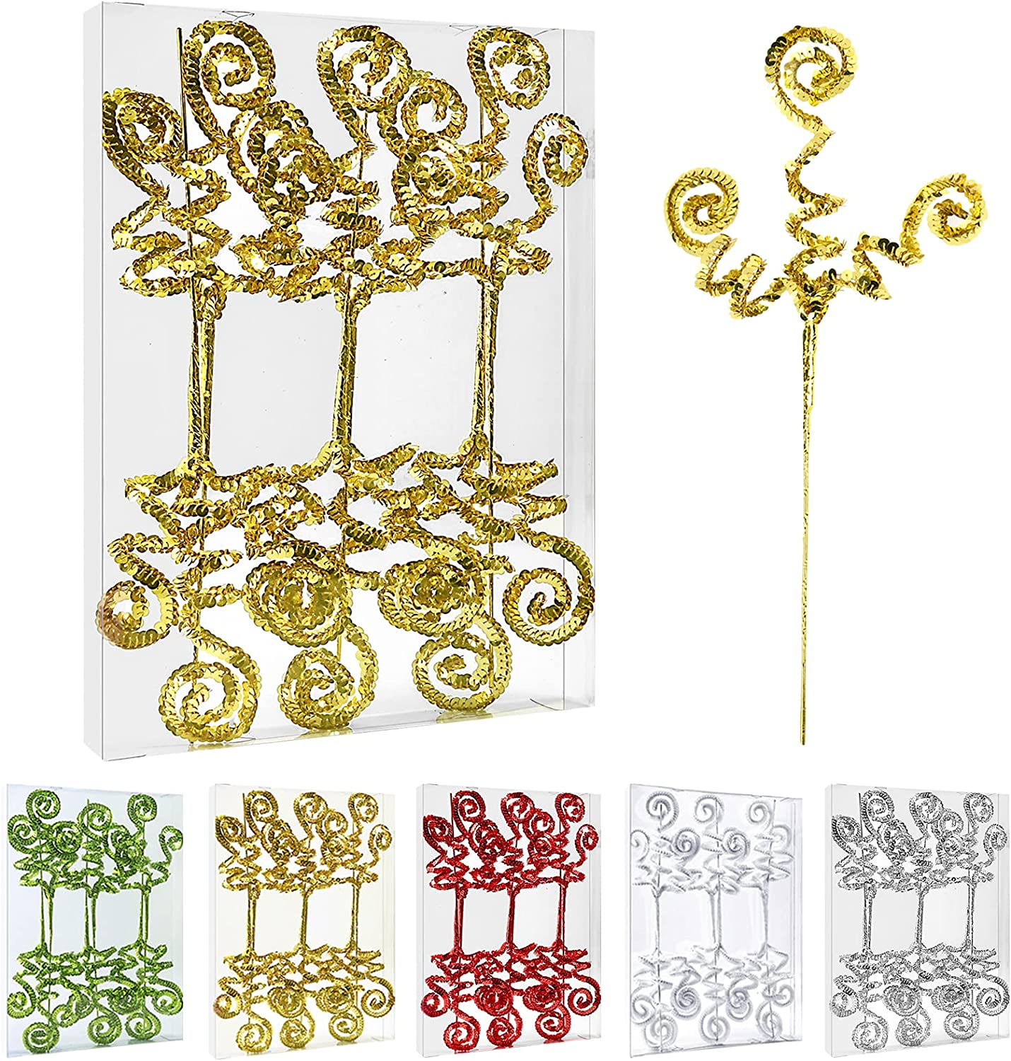 ZHANYIGY 6PC Set Department store 70% OFF Outlet Gold Christmas DecorationSequins Candy Sh Tree