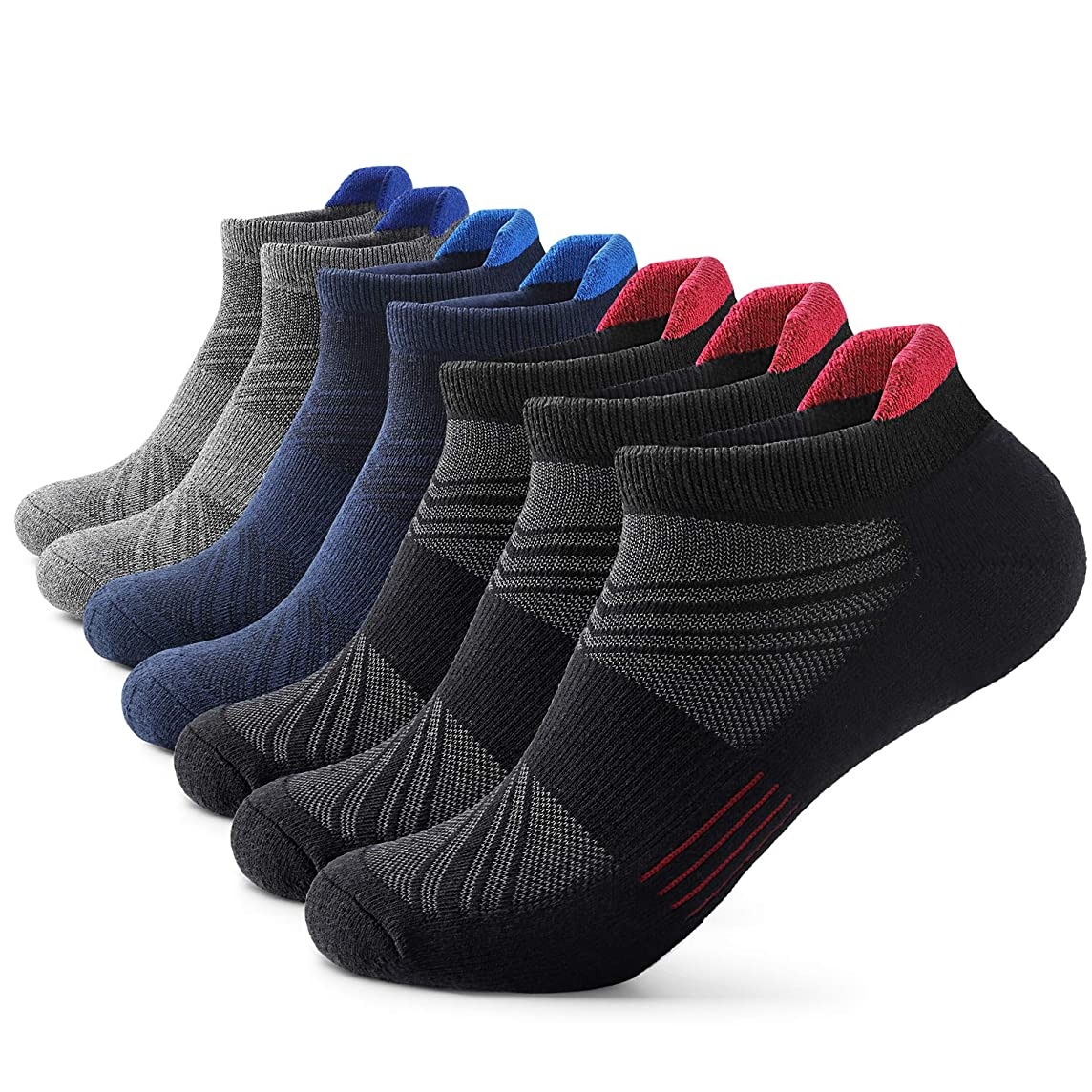 Mens Ankle Athletic Socks Men's Running Sports 3/5/7 pairs Socks Comfort Cushioned Running Tab Socks