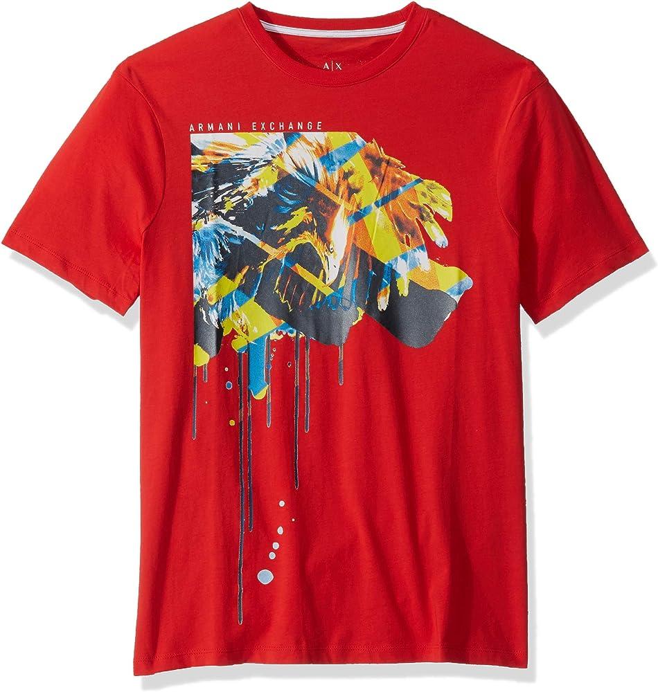 Armani exchange, t-shirt da uomo, maglietta a maniche corte, 100% cotone 8NZT76Z8H4Z