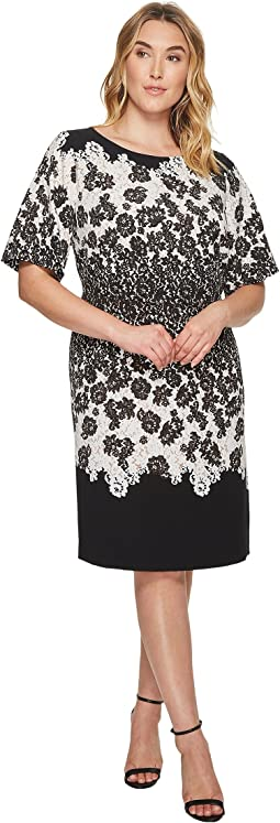 Adrianna Papell - Plus Size Fluttering Lace Print Fit and Flare with Elbow Length Sleeves