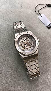 Luxury Brand Stainless Steel Silver Color Partially Black Color dial Automatic Movement Skeleton Oak Watch Watches