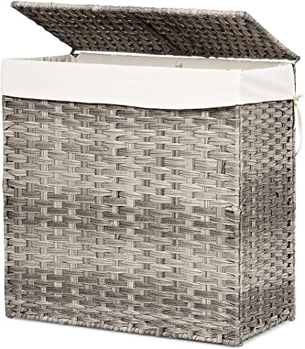 """lowest Giantex Laundry Basket Foldable and Divided 23.5"""" Rattan Laundry Hamper W/ Removable online Washable Liner Bag, lid high quality and Handles, Portable Rectangular Laundry Hamper for Bathroom Bedroom Balcony (Gray) online sale"""