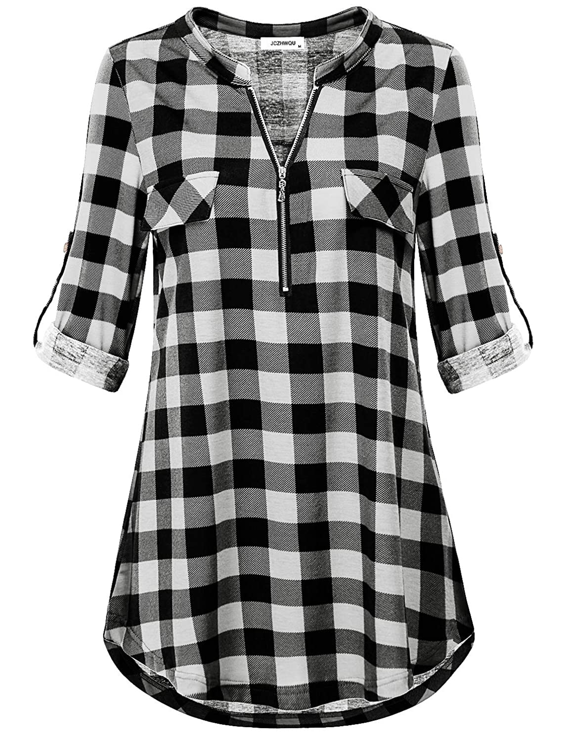 JCZHWQU Women's Zip Up V Neck 3/4 Rolled Sleeve Casual Plaid Tunic Shirt