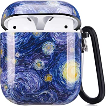 Airpods Case, Airpods Protective Hard Case Cover with Keychain Compatible with AirPods 2/1 Cute Girls Men Durable Shockproof Anti Lost Case for AirPods Charging Case (Blue Planet)