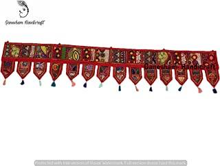 GANESHAM Indian Hippie Boho Bohemian Decor Cotton Ethnic Wall Hanging Wall Art Vintage Patchwork Door Valances Window Valances Hand Embroidered Patchwork Toran ''80''