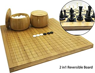 Mose Cafolo 2in1 Go Game Set & Chess Game Set with Reversible Bamboo Go Board   Measures 17.5 x 18.5