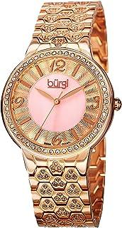 Burgi Women's Rose Tone Brass Band Watch - BUR115RG