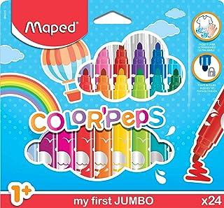 Maped Color'Peps Gros Feutres de Coloriage Premier âge pour Bébé et Enfant dès 1 an avec Pointe Sécurisée et Encre Lavable...