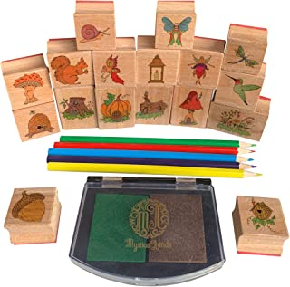 Mystical Lands Fairy Garden Forest Wooden Rubber Stamp Set for DIY Picture Making Cards Scrapbooking Crafts