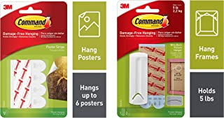 Command Poster Strip, Holds 225 gm, No Drilling, Holds Strong, No Wall Damage (White, 12 Strips) & Wire-Back Plastic Pictu...