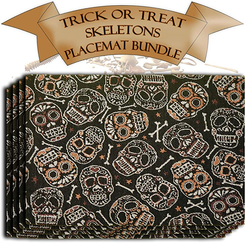 Trick Or Treat Tapestry Place Mat Set Bundle Includes 4 Day Of The Dead Themed Place Mats