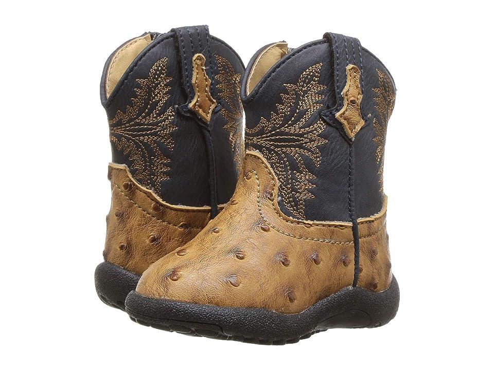 Roper Kids Cowboy Cool (Infant/Toddler) (Tan Faux Ostrich Vamp/Navy Shaft) Cowboy Boots