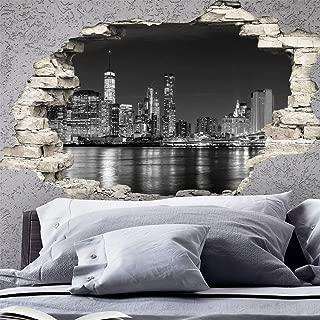 Ambiance Sticker Pegatinas Adhesivas Efecto 3D de Nueva York Skyline – Decoración de Pared con Trampa de Ojos para habitación y salón, 60 x 90 cm