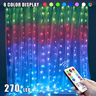 MYGOTO 8 Vibrant Color Change Curtain String Lights,9.8x9.8feet 270Led RGB Icicle Fairy Lights,52 Modes with Remote,Plug in Xmas Lights with 6V Safe Voltage (270LED, RGB)