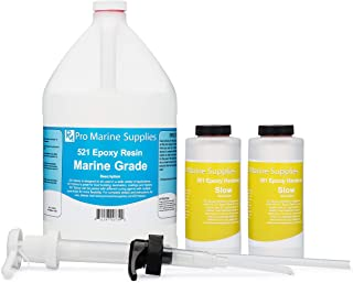 Pro Marine Epoxy Resin and Hardener Kit - 521 System WITH PUMPS | Fiberglass Boat Repair | Fiberglass Cloth and Mat | Total Penetrating Apoxy Glue | Works on Wood, Aluminum, Paint, and Polyester Resin