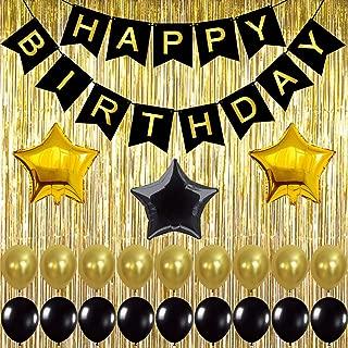 KATCHON 032 Black Decoration Kit, Gold Metallic Fringe Shiny Curtains, Happy Birthday Banner with Latex & Star Foil Balloons, 1