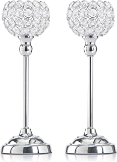 Skyera Silver Crystal Candle Holders, Pack of 2 Dining Table Centerpiece Candlesticks Home Decoration for Valentines Day/Wedding/Thanksgiving/Birthday/Housewarming (13 Inch)