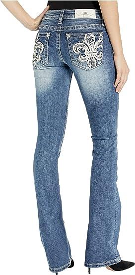 Miss Me Womens Fleur-de-lis Embellished Pocket Bootcut Jeans
