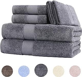Wonwo 100% Cotton Bath Towels, Luxury 6 Piece Set - 2 Bath Towels, 2 Hand Towels, and 2 Washcloths-Gray
