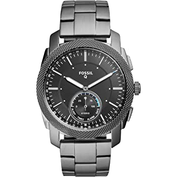 Fossil Men's Machine Stainless Steel Hybrid Smartwatch, Color: Smoke (Model: FTW1166)