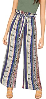 Floerns Women's Frilled Waist Striped Print Palazzo Pants