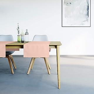 Mistral Home Chemin de Table Rose Poudré - 45x145 cm - Linge de Table Anti-Taches mélange Coton Polyester - décoration de ...