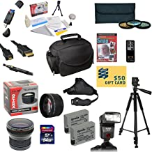 47th Street Photo Pro Shooter Accessory Kit for the Canon Rebel T2i, T3i, T4i, T5i, 650D, 700D, Kiss X5 Kiss X4, KissX6i, Kiss X7i, EOS 550D, 600D DSLR Digital Camera - Kit Includes: 64GB SDXC Card + Card Reader + 2 Extended Life Batteries + Charger + 58mm 0.43x HD2 Wide Angle Macro Fisheye Lens + 58mm 2.2x HD2 AF Telephoto Lens + 58mm 3 Piece Pro Filter Kit (UV, CPL, FLD Lens) + HDMI Cable + Padded Gadget Bag + Professional 60