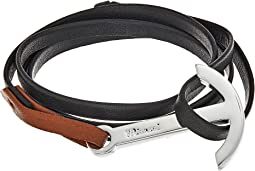Miansai - Modern Silver Anchor on Two-Tone Leather Bracelet