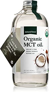 Natural Force Organic MCT Oil – Pure Glass Bottle – Made from 100% Cold Pressed Virgin Coconut Oil + Certified Keto, Paleo...