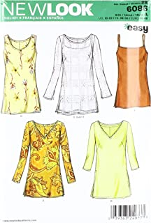 New Look Sewing Pattern 6086 Misses Tops, Size A (10-12-14-16-18-20-22)
