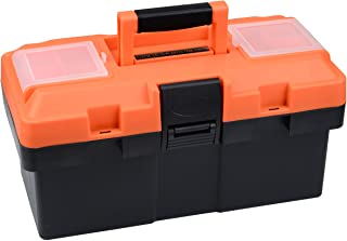 Plastic Tool Box, 14 -inch Portable Tool Box Plastic Toolbox with Removable Tool Tray and..