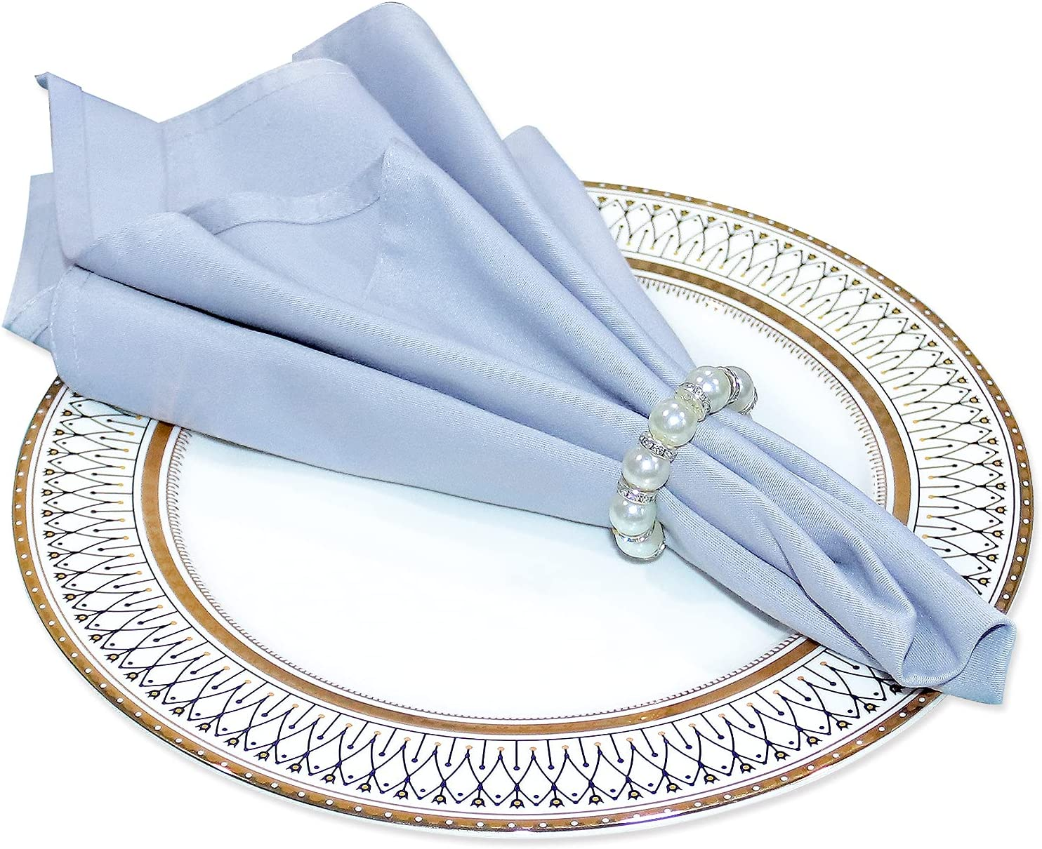 YUESUO Pearl Napkin Rings Set Holder New Shipping Free Ring of Ultra-Cheap Deals for 12,Napkin