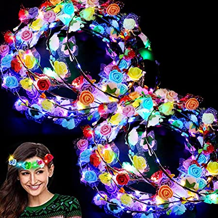 24 Pack LED Flower Crown Colorful Valentines Headband Light Up Wreath Stick Glow Party Supplies Flashing Garland for Women Girls Dress Up Glow Accessories Birthday Wedding Valentines Day Party Gifts