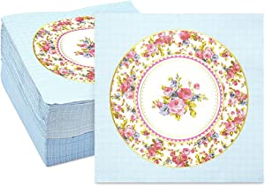 Vintage Floral Paper Napkins, Watercolor Rose (6.5 x 6.5 In, 150 Pack)
