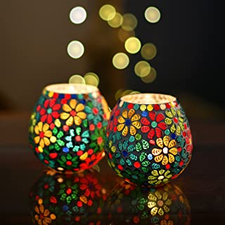 Homesake® Tea Light Candle Holder for Home Decoration Moroccan Multicolor Mosaic Glass, for Home Room Bedroom Lights Decoration | Pack of 2