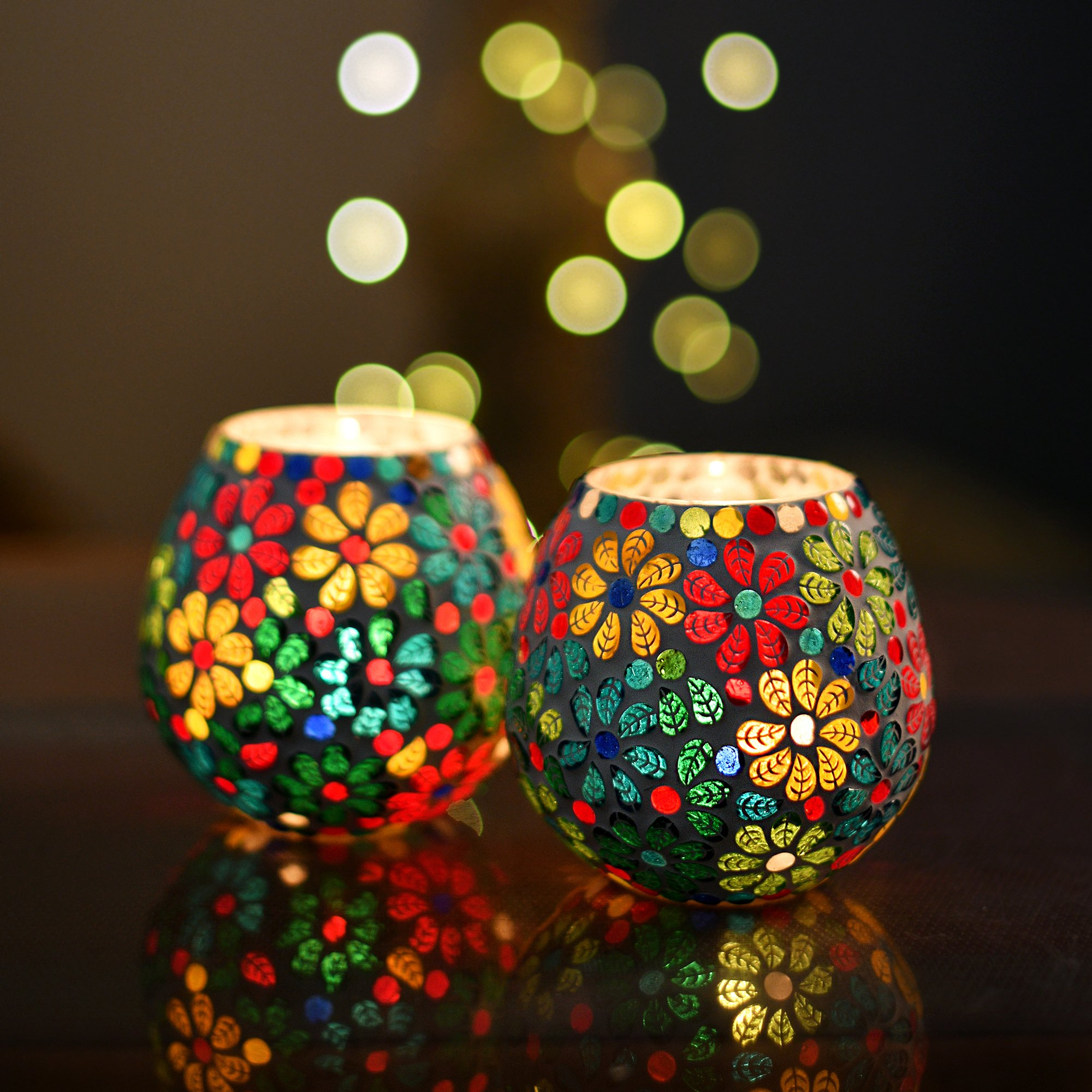 Homesake Tea Light Candle Holder for Home Decoration, Home Room Decor Items Moroccan Multicolor Mosaic Glass, for Home Room, Bedroom Lights Decoration   Pack of 2