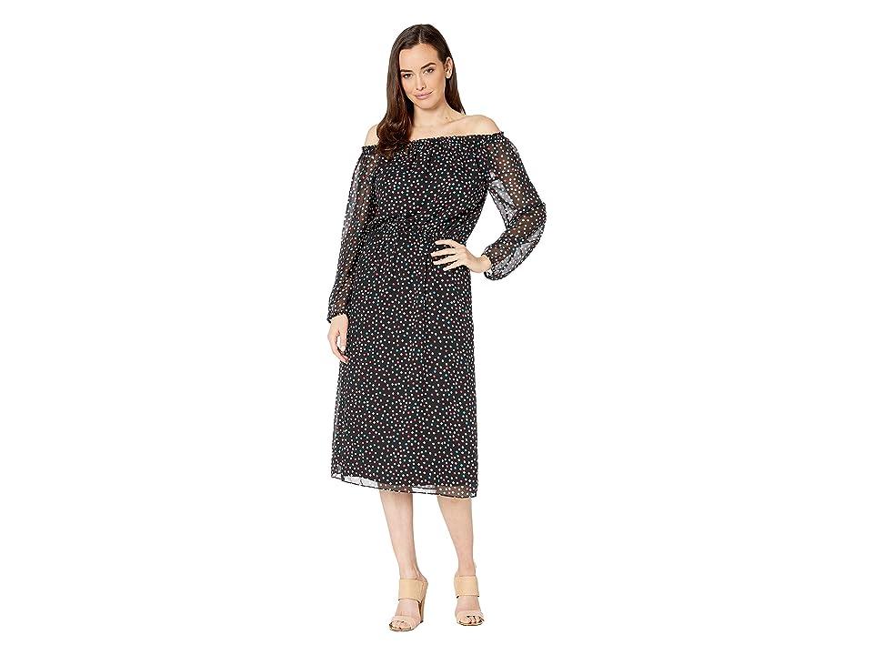 Nine West Sprinkle Dot Midi Long Sleeve Peasant Dress (Black/Honolulu Multi) Women