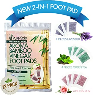 New 2-in-1 Aroma Bamboo Vinegar Foot Pads by Pure Sole Foot & Body | Premium Ingredients w/All Natural Extracts | Apply & Sleep For Best Relief & Results | 12 Pack Combo - Lavender, Green Tea & Rose