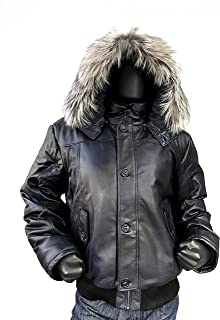 9168d4235536b Men s Winter Warm Genuine Leather Bomber Jacket with Real Fur Hood Brown  Navy Black