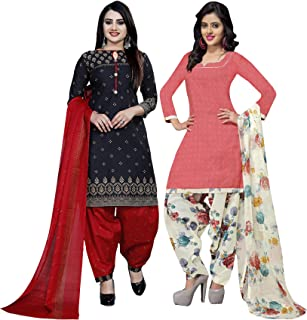 Rajnandini Women's Black And Peach Cotton Printed Unstitched Salwar Suit Material (Combo Of 2) (Free Size)