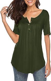 Sarin Mathews Womens Shirts Casual Tee Shirts V Neck Short Sleeve Button Up Loose Fits Tunic Tops Blouses