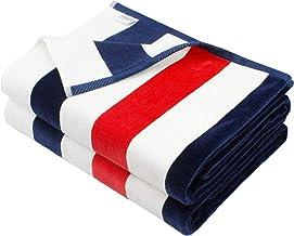 COTTON CRAFT Positano Americana Cabana Stripe Set of 2 Luxury Plush Velour Cotton Beach and Pool Towels, 630GSM, 35 inch x...