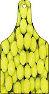 Lunarable Sports Cutting Board, Heap of Tennis Balls Hobbies Happiness Leisure Time Competitive Match Lifestyle, Tempered Glass Serving Board, Wine Bottle Shape, Medium Size, Apple Green